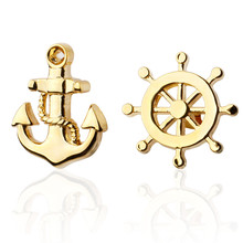 Men's shirts Cufflinks high-quality copper material The Golden Anchor Cufflinks 2 pairs of packaging for sale