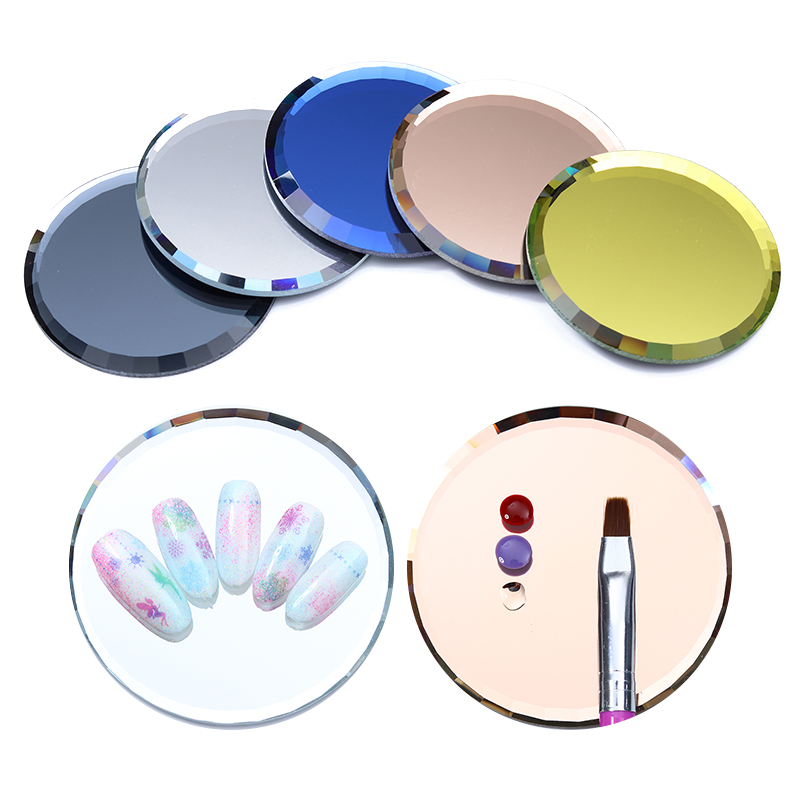 1 Pc False Nail Tips Display Board Resin Stone Mirror Glass Color Palette Practice Shelf Dish Manicure Nail Decoration Art Tool