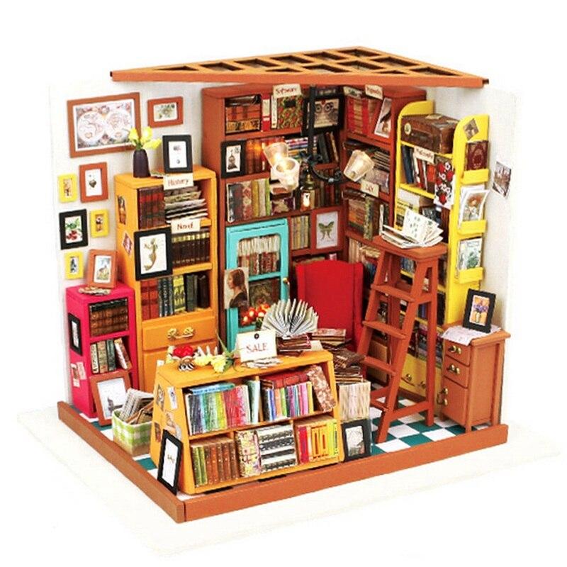Cuteroom Handmake DIY Doll House The Book Shop Dollhouse Miniature 3D LED Furniture Kit Light Box