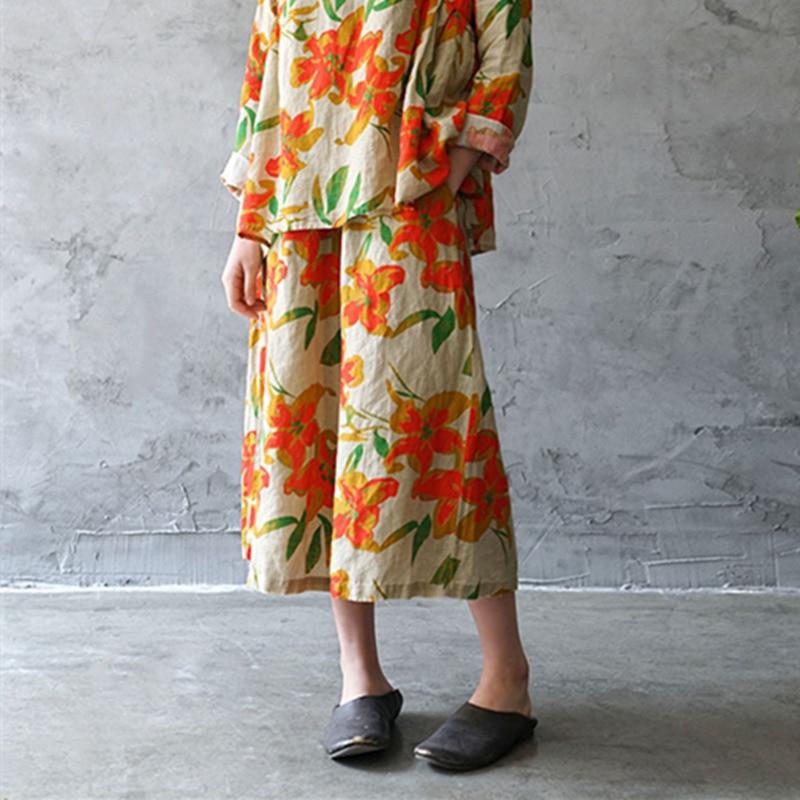 Johnature 2019 Spring Vintage Print Women Calf Length Pants New Loose Elastic Waist Patchwork Linen Thin