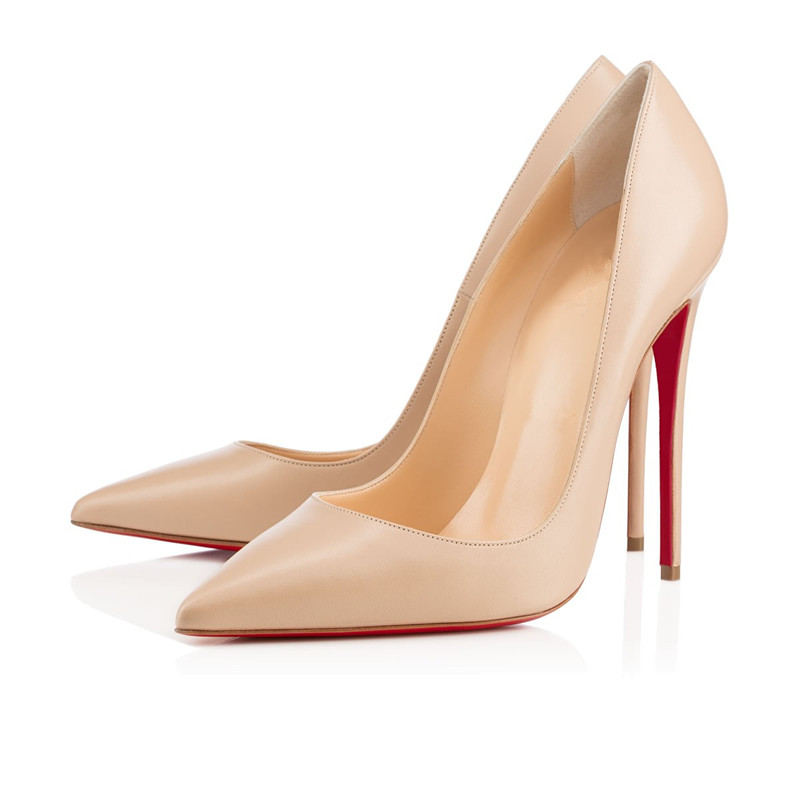 Nude Matt Red Bottom High Heels Shoes Women Pointed Toe Party ...