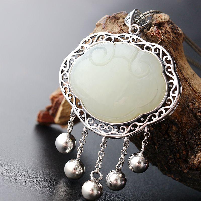 Silver Jewelry Wholesale Inlay Natural Hetian Jade Retro Thai Silver Pendant Vintage S925 Sterling Silver Tassel Silver Lock ...