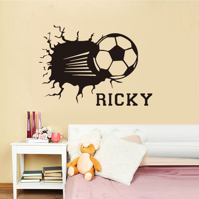 Personalized wall decal football smashing wall sticker custom name vinyl decal special design soccer pattern home