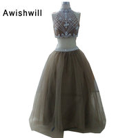 Two Pieces Ball Gown Prom Dresses Floor Length Beadings Tulle Sexy Backless Party Dress Vestido De