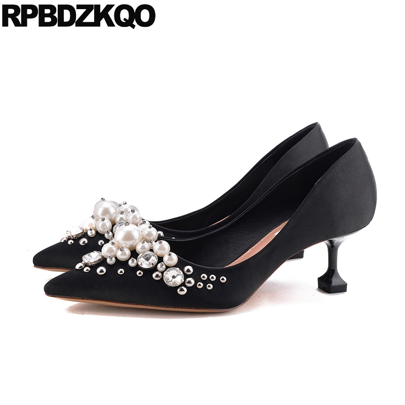 Wedding Pumps Pointed Toe Silk Bridal Plus Size Pearl High Heels Shoes Ivory Satin Crystal Metal Women Red Stud Kitten Medium 33 luxurious elegant ivory pearl wedding party dancing shoes bridal shoes pointed toe kitten heeled shoes woman lady dress shoes