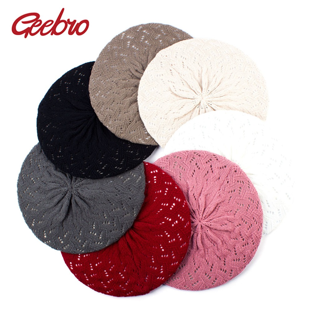 Geebro Women's Plain Color Knit Beret Hat Ladies French Artist Beret Hats Spring Casual Thin Acrylic Berets For Women Beanie