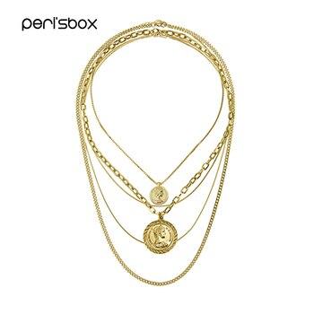 bfdd0f64222f Perisbox Bohemia de múltiples capas collares para mujeres colgantes de  disco de moneda COLLARES DE ...
