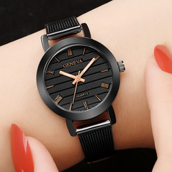 Simple Ladies Gold Watch Women Famous Brand Minimalist Steel Mesh Simple Geneva Watch Women Role Quartz Watch @F