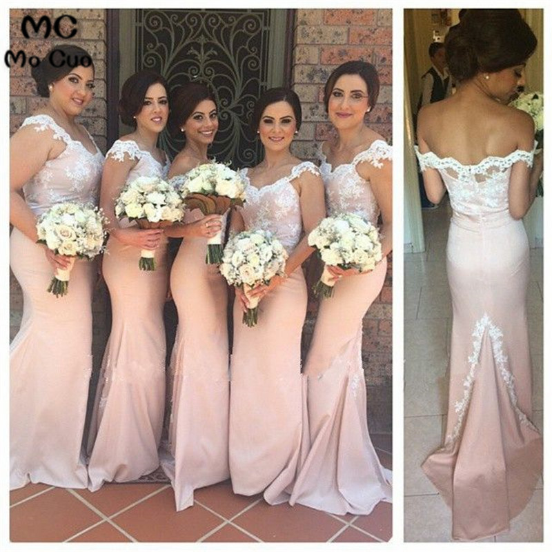 Sexy 2019 Mermaid Wedding Party Dresses Vestido Longo De Festa Cap Sleeve Appliques Lace Pink Long Bridesmaid Dresses For Women