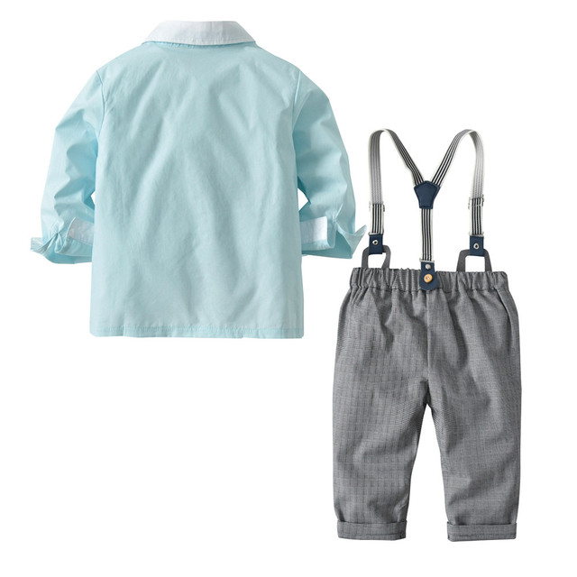 2018 Brand New Fashion Boys Clothes Cotton Long Sleeve Bowtie Gentleman Solid Top T-Shirt Overall Long Pants Baby Clothing Set
