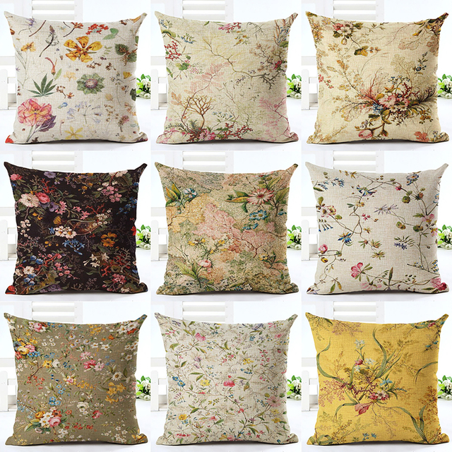 Vintage Style Cotton Linen Cushion Cover Creative Printed Flower