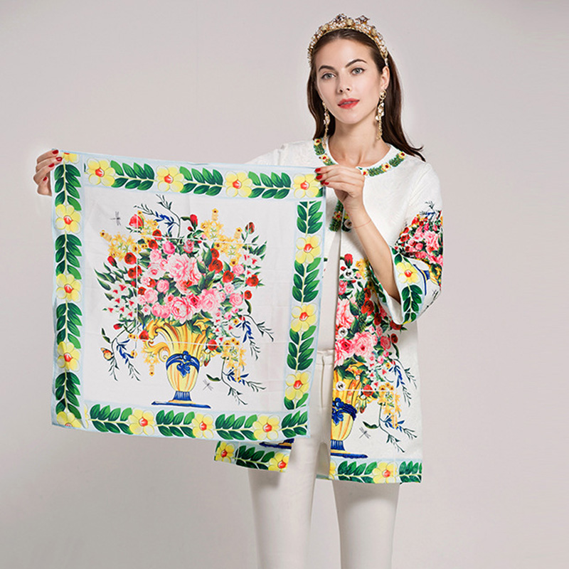 Extérieure Nouveau Haute Automne 2017 Qualité Lady Femmes Écharpe Manteau Piste Office Designer Sur Mode Porter Vase Les Vintage Fleur De Imprimé wHAqdF