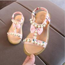 2018 New Kids Baby Teenagers Grils School Sandals Bare Toes Shoes Summer Princess Pearl Flat Beach Shoes 1 2 3 4 5 6 Years 25