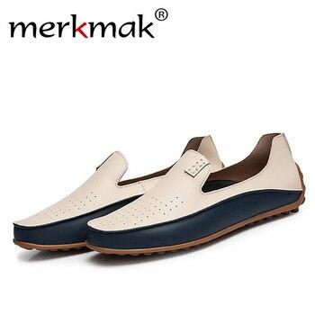 Merkmak/модная мужская повседневная обувь, большие размеры 38-47, брендовая Летняя обувь с отверстиями, лоферы для вождения, дышащая мужская Мягк...