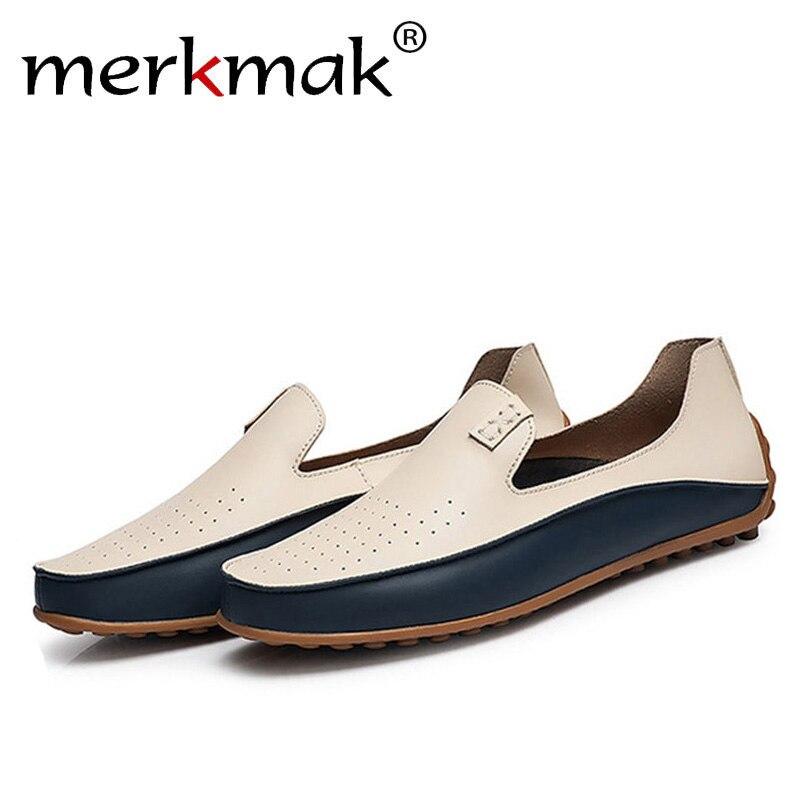 Merkmak de moda casuales de los hombres de gran tamaño 38-47 38-47 38-47 zapatos de marca zapatos de verano agujeros conducción holgazán transpirable suave zapatos de calzado venta al por mayor