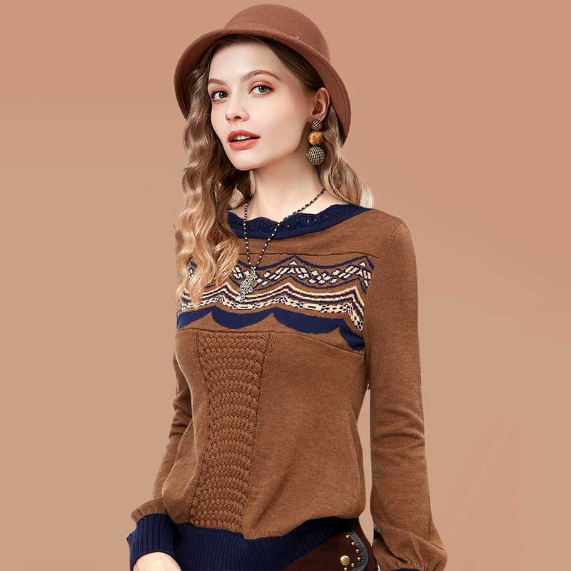 ARTKA 2018 Women s Knitted Sweater Autumn Lace Long Wool Sweater Female Vintage Jumper Lantern Sleeve
