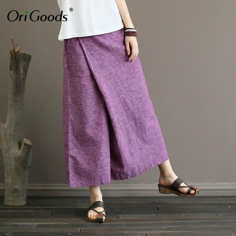 OriGoods Cotton Linen   Wide     leg     Pants   Women Elastic waist Loose Casual   Wide     leg   Trousers 2019 Summer New Novelty Skirt   Pants   A361