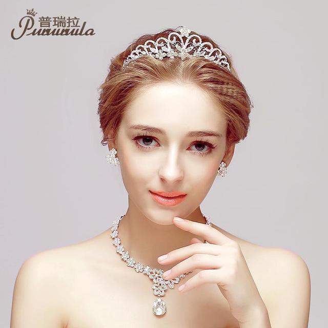 Puroila 3 pcs/set phụ nữ cưới cô dâu vương miện vương miện rhinestone Multi Layer đồ trang sức cưới bộ Necklace và Stud Bông tai Bijoux