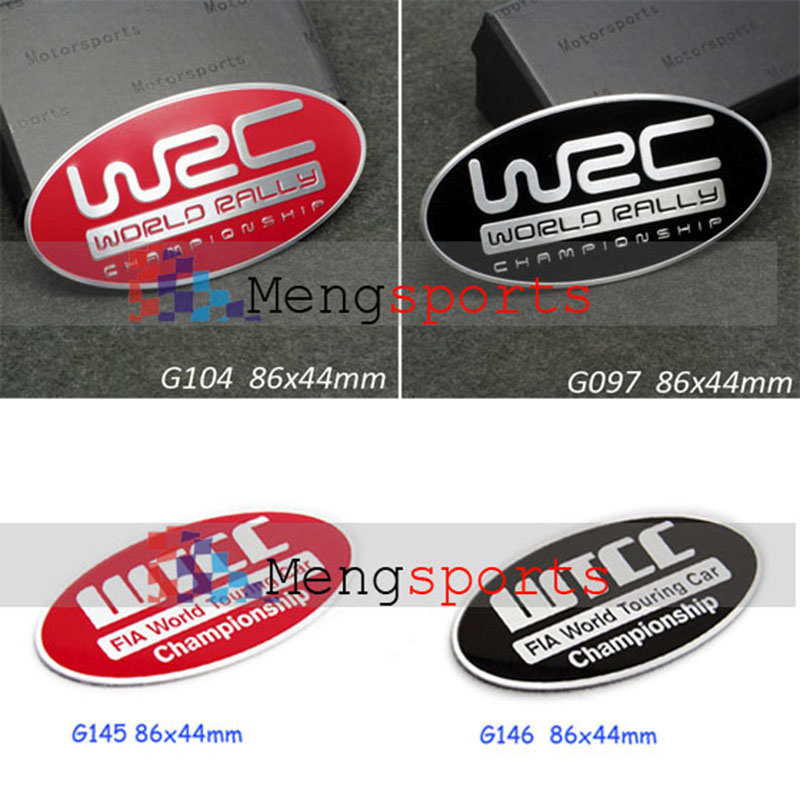 30pcs WRC WTCC 3D Car Styling Aluminum Alloy Badge Emblem Sticker 86x44mm Shipping Free