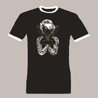 Marilyn Monroe bandana Ringer Men's T Shirt Tattoos Guns Pistols Tattoo Marylin Tee Shirt T-SHIRT 100% Cotton Unisex Summer Tees