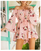Spring and summer new style cute Jumpsuit Leisure holiday wind print jumpsuit Off-the-shoulder