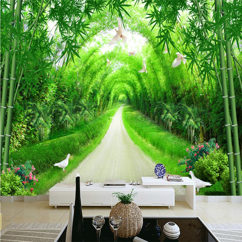 beibehang bamboo forest Custom photo wallpaper for walls 3 d TV background large mural 3d wallpaper for living room wall paper beibehang american retro wallpaper roll desktop living room 3d wall paper home decor tv background green wallpaper for walls 3 d