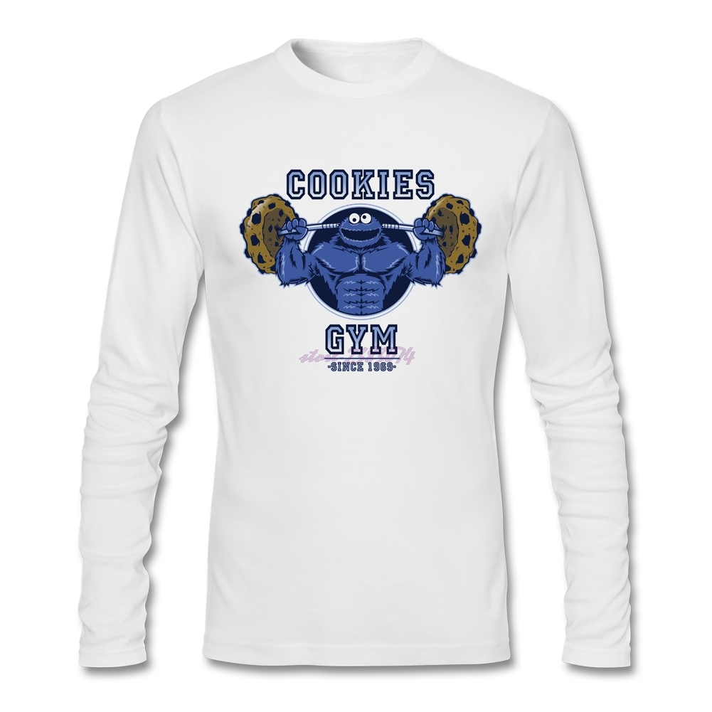 Design your own t-shirt long sleeve - Man Classical Round Neck T Shirts Big Size Cookies Comfortable Cotton Fabric Man Full Sleeves Design Your Own T Shirt