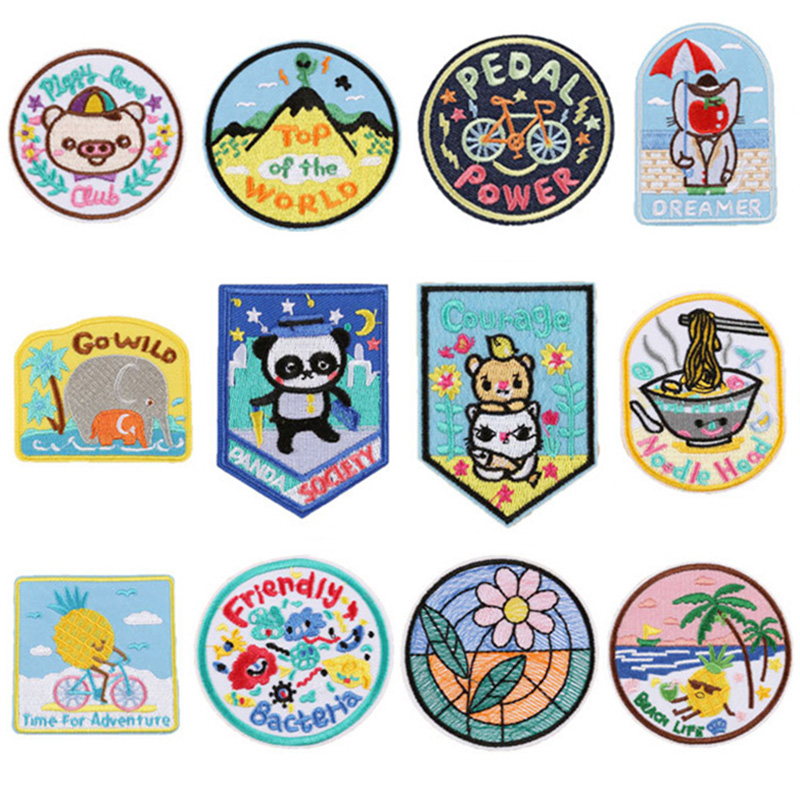 Panda Elephant Pineapple Cat Cute Cartoon Embroidered Patches Iron on Applique Embroidery Flower DIY Badges for Clothes
