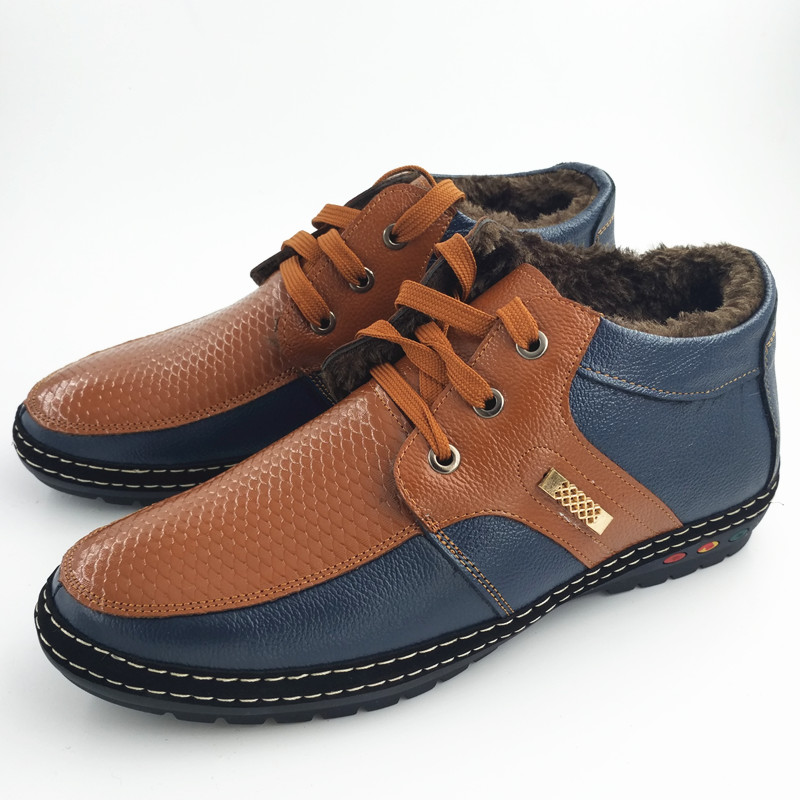 Top Quality Handmade Genuine Leather Winter Men Shoes Thick Plush Super Warm Casual Father Shoes Work Business Non-slip New 2017 top brand high quality genuine leather casual men shoes cow suede comfortable loafers soft breathable shoes men flats warm