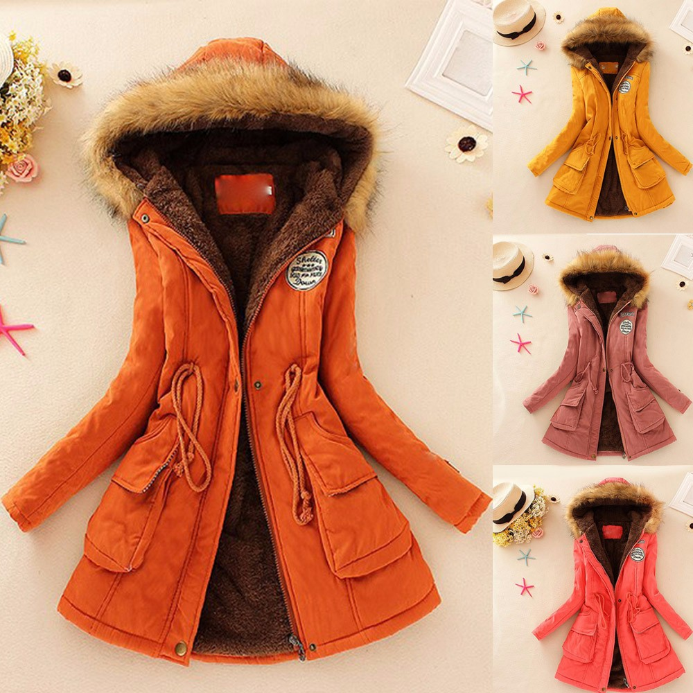 2017 New Fashion Womens Warm Long Coat Fur Collar Hooded Jacket Slim Winter Parka Outwear Coats#20 new for sony vaio svf144 svf1441v6cp svf1441v6cw palmrest english us laptop keyboard white backlit