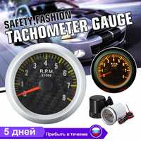 2 pouces 52mm 0-8000 tr/min Rev Tacho jauge voiture tachymètre en Fiber de carbone visage jaune LED