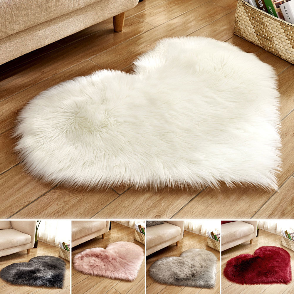 Heart Shaped Fluffy Rug Shaggy Floor Mat Soft Faux Fur Home Bedroom Hairy Rug Home Decors  Accessories