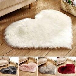 W kształcie serca puchaty dywan Shaggy miękka mata podłogowa Faux Fur Home sypialnia włochaty dywan akcesoria do dekory domu