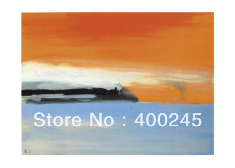 Hand painted Abstract art modern oil painting Seaside Railway Line in the Setting Sun By Nicolas De Stael Canvas for Room Decor