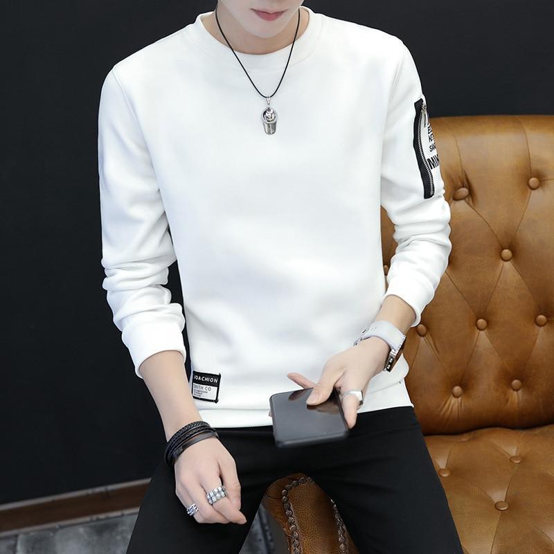 Мужская толстовка уютная печать с длинным рукавом преппи Повседневный пуловер - Цвет: Белый
