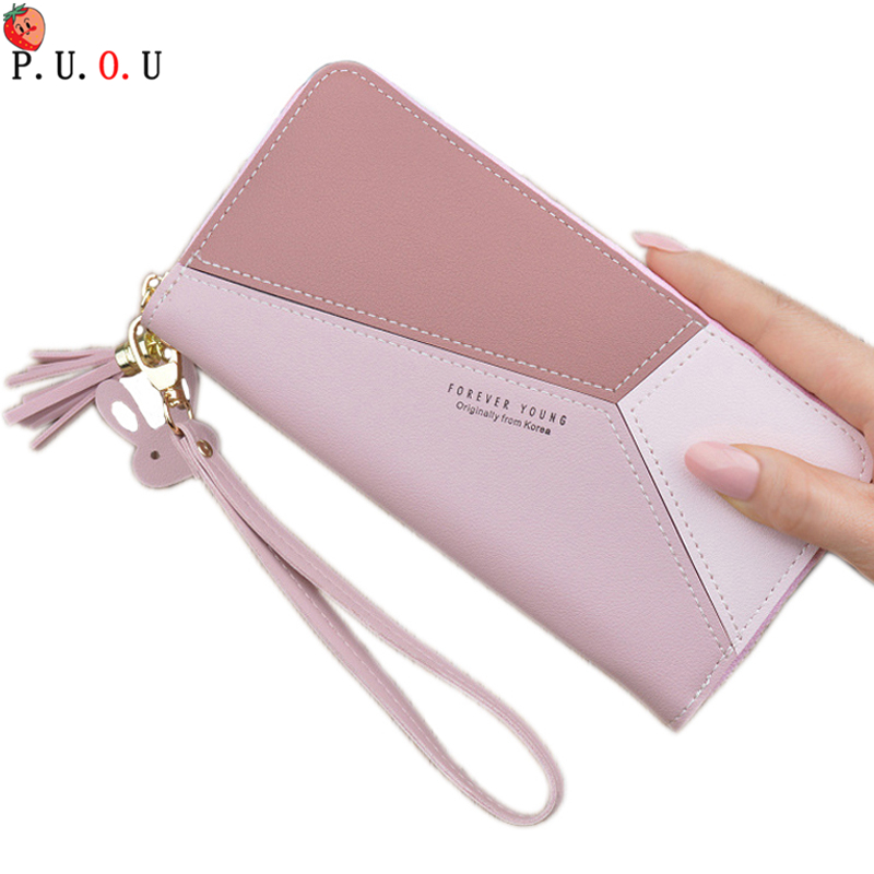 Splice Women Clutch Pink Blue Wallets Phone Pocket Purse Card Holder Patchwork Women Long Wallet Lady Fashion Short Coin Burse 6(China)