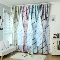 1 Panel Pastoral Striped Window Blackout Cloth Curtain Voile Gauze Tulle Curtains Blinds For Bedroom Decoration