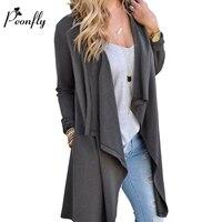 PEONFLY 2017 Women Cardigan Autumn Long Sleeve Irregular Long Female Grey Thin Sweater Loose Ladies Coat