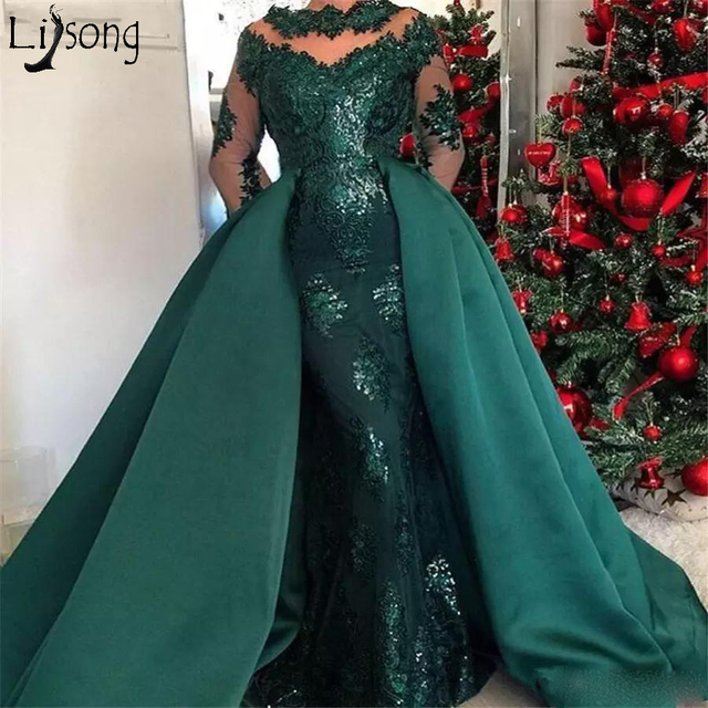 6a0f384120c5 Hunter Green Mermaid Prom Dresses with Detachable Train 2018 Jewel Neck Lace  Applique Stain Long Evening Dress Pageant Gowns