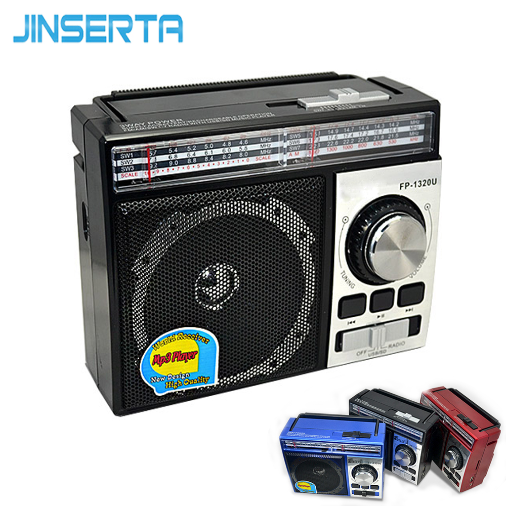 JINSERTA FM/AM/SW Radio Receiver Portable Radio MP3 Player with Rechargeable Battery Support U Disk SD card AUX play цены онлайн