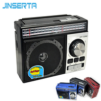 JINSERTA FM/AM/SW Radio Receiver Portable Radio MP3 Player with Rechargeable Battery Support U Disk SD card AUX play