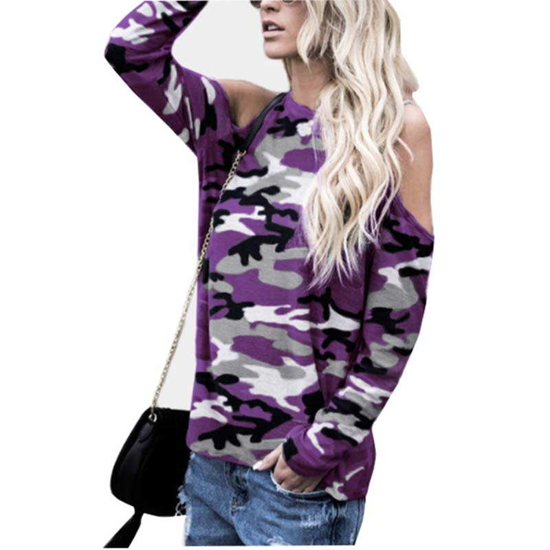 Casual Long Sleeve Women T-Shirts Summer Autumn Sexy O-neck Off The Shoulder Camouflage Streetwear Colorful Tops Tees 6Q1494