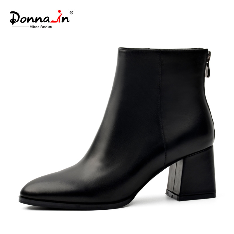 Donna-in genuine leather women boots classic round toe thick heel ankle boots black calf leather ladies boots