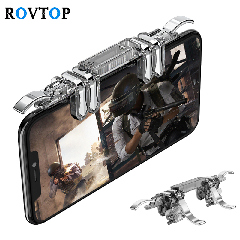 Rovtop Metal K19 Mobile Phone Gaming Trigger for PUBG Mobile Gamepad Fire Button Aim Key L1R1 Gaming Shooter PUBG Controller Z2(China)