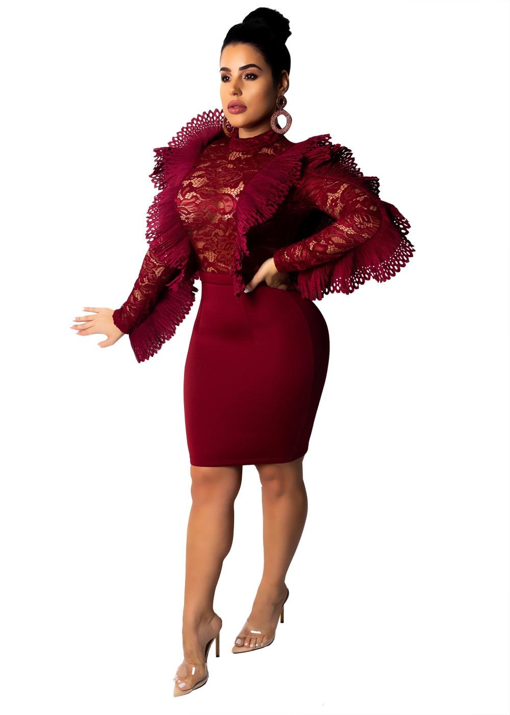 e418889a2a Women Lace Sheer Mesh Bodycon Sexy Dress Female Club Outfit Ruffle Sleeve  Mini Vintage Woman Dress Party Elegant Vestidos 2018