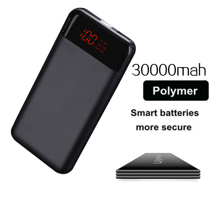 Slim 20000mah Power Bank Portable Ultra-thin Polymer Powerbank Battery Poverbank 30000mah With Led Light For Mobile Phone Good Heat Preservation Collectibles