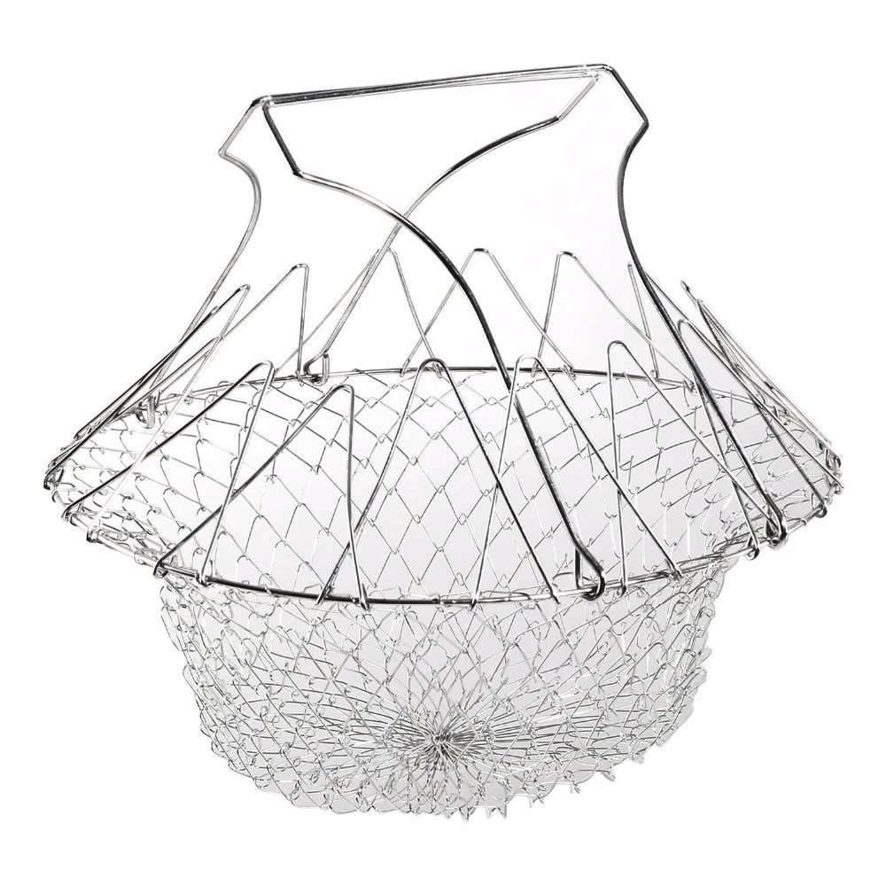 Fry french chef basket foldable steam rinse strain magic stainless steel strainer net basket for kitchen cooking gift-1