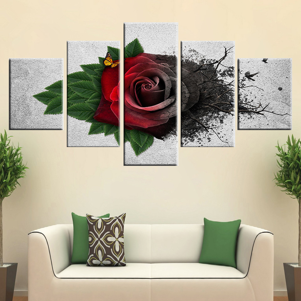 Wall-Art-Modular-Canvas-Pictures-5-Pieces-Red-Garden-Roses-Flowers-Painting-HD-Printed-Butterfly-Poster