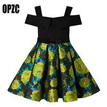 OPZC Vintage Stitched Flower Princess Girls Off Shoulder Party Dress Costume Clothing Toddler Kids Dress for Children Clothing