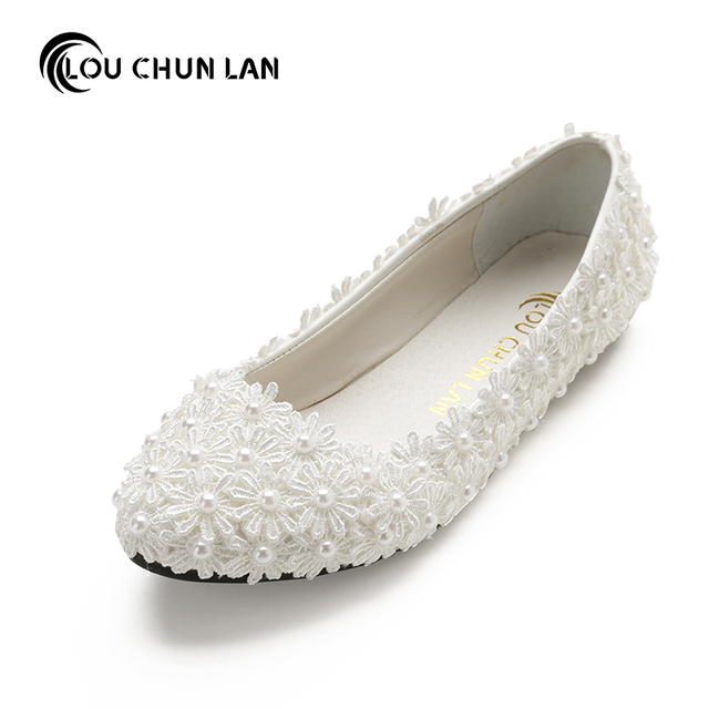 206b4c193 Туфли под платье ручной работы свадебные туфли Свадебная обувь белый  плоский с кружевом и жемчугом свадебные